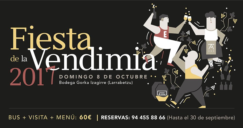 Domingo 8 de octubre Fiesta de la Vendimia 2017 en la bodega Gorka Izagirre